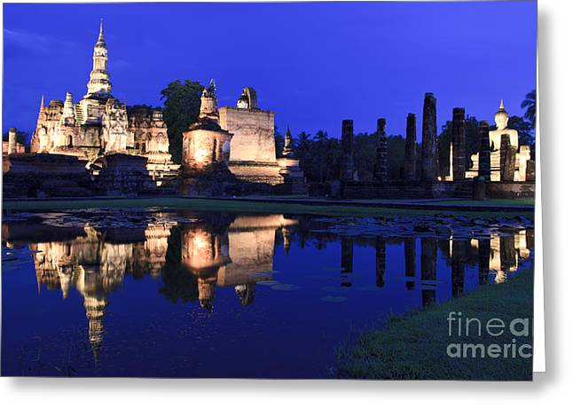 Reflex Greeting Cards - Sukho-thai historical temple Greeting Card by Anek Suwannaphoom