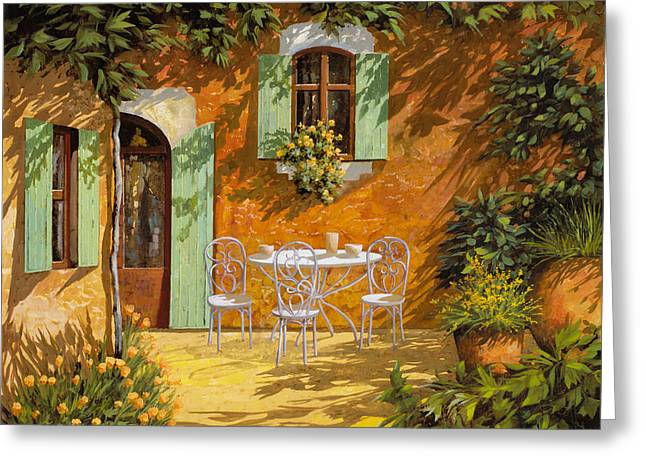 Table Greeting Cards - Sul Patio Greeting Card by Guido Borelli