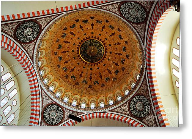Byzantine Greeting Cards - Sulemaniye Mosque Dome Greeting Card by Dean Harte