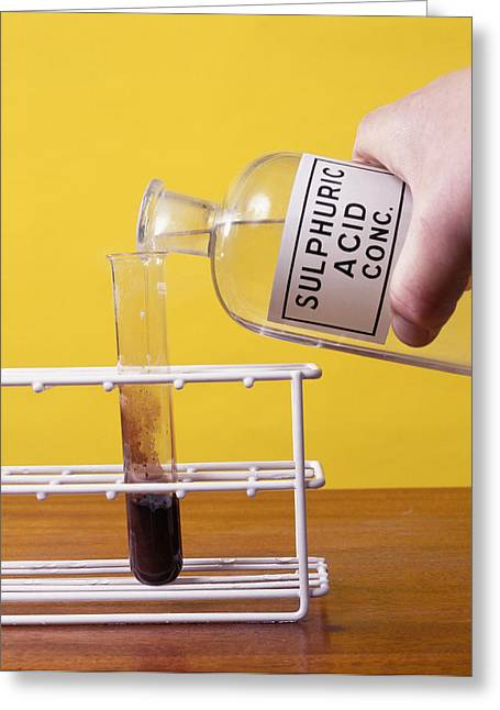 Harmful Greeting Cards - Sulphuric Acid Reaction Greeting Card by Andrew Lambert Photography
