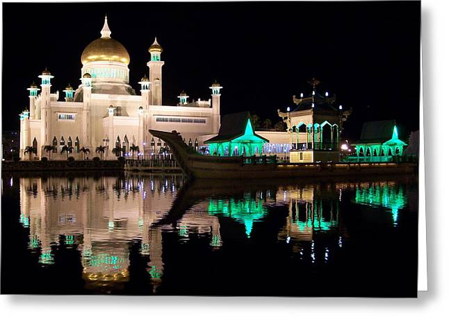 Steve Huang Greeting Cards - Sultan Omar Ali Saifuddin Mosque at Night Greeting Card by Steve Huang