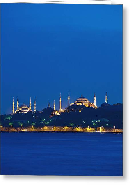 Sultanahmet Or Blue Mosque And Hagia Greeting Card by Axiom Photographic