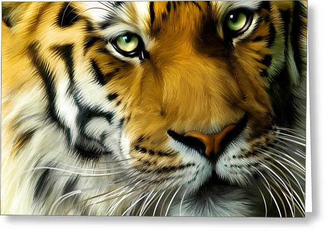 Tigris Greeting Cards - Sumatran Tiger Closeup Portrait Greeting Card by Julie L Hoddinott