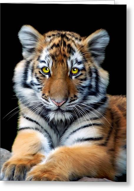 Altaica Greeting Cards - Sumatran Tiger Cub Greeting Card by Julie L Hoddinott
