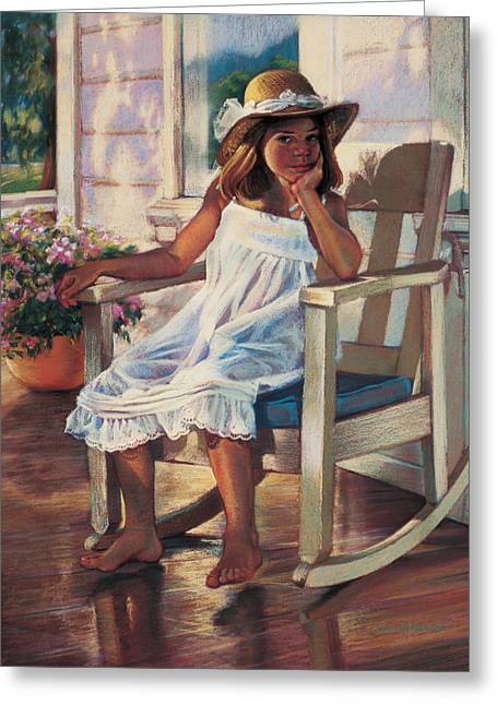 Rocking Chairs Paintings Greeting Cards - Summer Afternoon Greeting Card by Jean Hildebrant