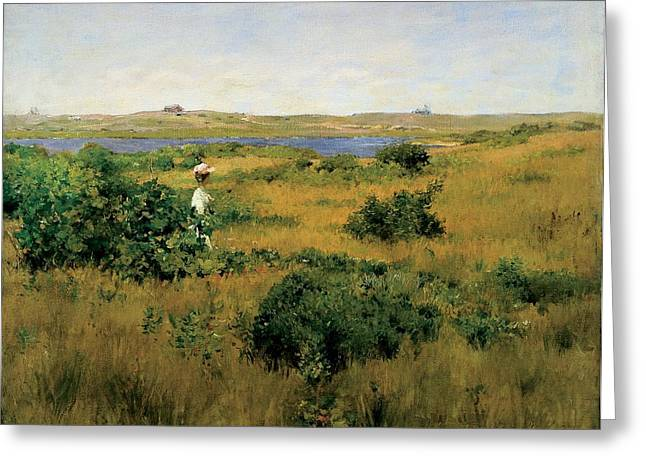Obscure Greeting Cards - Summer at Shinnecock Hills Greeting Card by William Merritt Chase