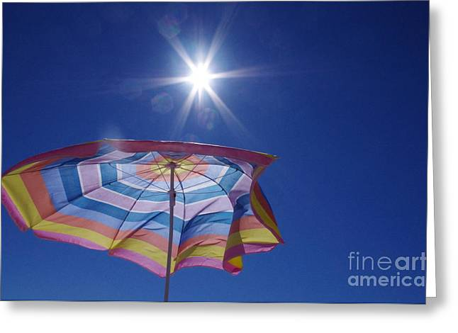 Umbrellas Pyrography Greeting Cards - Summer Greeting Card by Barbara Carretta