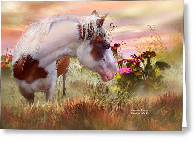 Horses In Print Greeting Cards - Summer Blooms Greeting Card by Carol Cavalaris