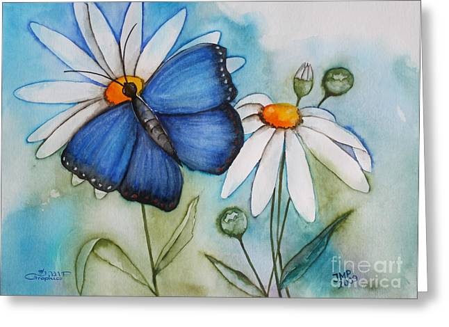Watercolor. Butterfly Greeting Cards - Summer Blue Greeting Card by Jutta Maria Pusl
