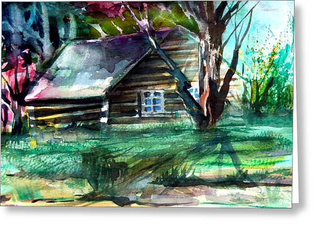 Old Cabins Greeting Cards - Summer Cabin Greeting Card by Mindy Newman