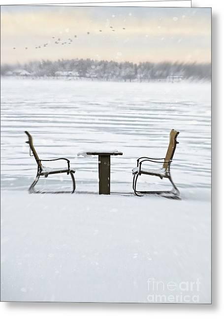Bleak Desert Greeting Cards - Summer chairs in winter near lake Greeting Card by Sandra Cunningham