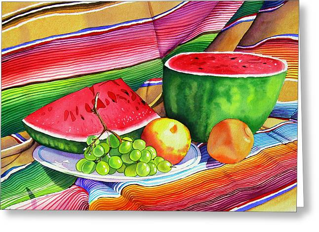 Recently Sold -  - Watermelon Greeting Cards - Summer Colors Greeting Card by Ada Astacio