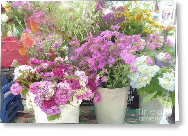Impressionistic Market Greeting Cards - Summer Colors Greeting Card by Susan  Lipschutz
