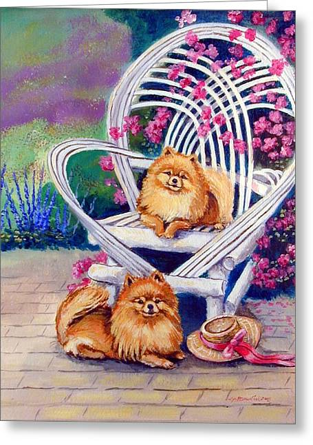 Puppies Paintings Greeting Cards - Summer Day - Pomeranian Greeting Card by Lyn Cook