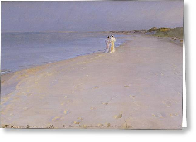 Skagen Greeting Cards - Summer evening at the South Beach Greeting Card by Peder Severin Kroyer