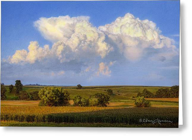 Cloud Drawings Greeting Cards - Summer Evening Formations Greeting Card by Bruce Morrison
