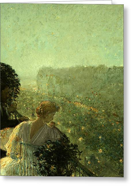 Evening Dress Greeting Cards - Summer Evening in Paris Greeting Card by Childe Hassam