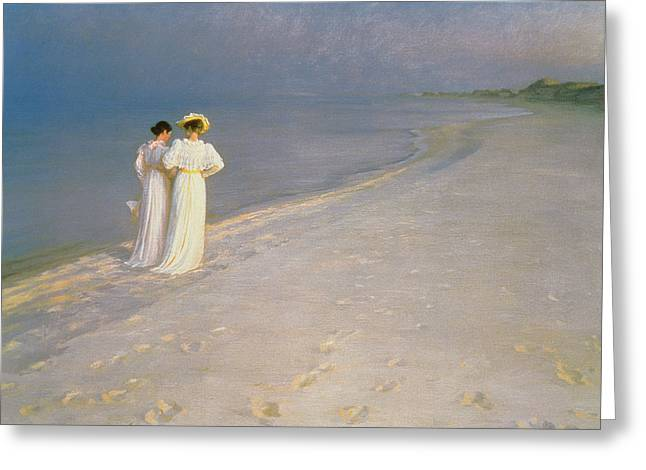 Skagen Greeting Cards - Summer Evening on the Skagen Southern Beach with Anna Ancher and Marie Kroyer Greeting Card by Peder Severin Kroyer