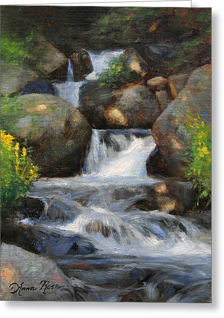 Waterfall Greeting Cards - Summer Falls Greeting Card by Anna Bain