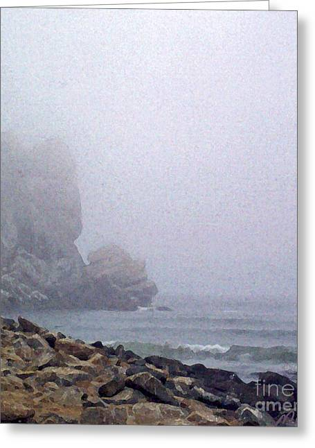 California Beach Art Digital Art Greeting Cards - Summer Fog At The Beach Greeting Card by Methune Hively