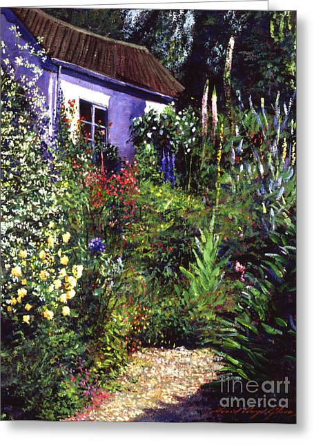 Country Shed Greeting Cards - Summer Garden Greeting Card by David Lloyd Glover
