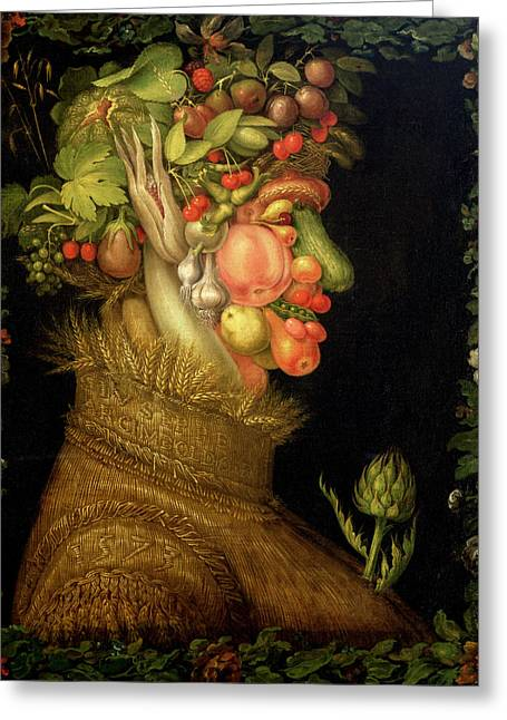 Allegories Greeting Cards - Summer Greeting Card by Giuseppe Arcimboldo