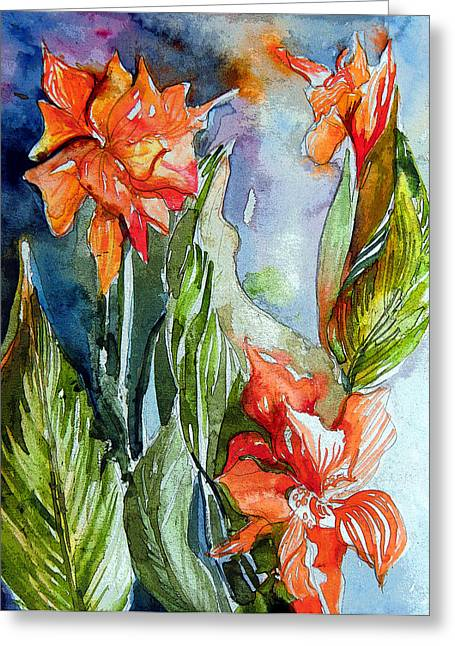 Gladiolas Digital Art Greeting Cards - Summer Glads Greeting Card by Mindy Newman