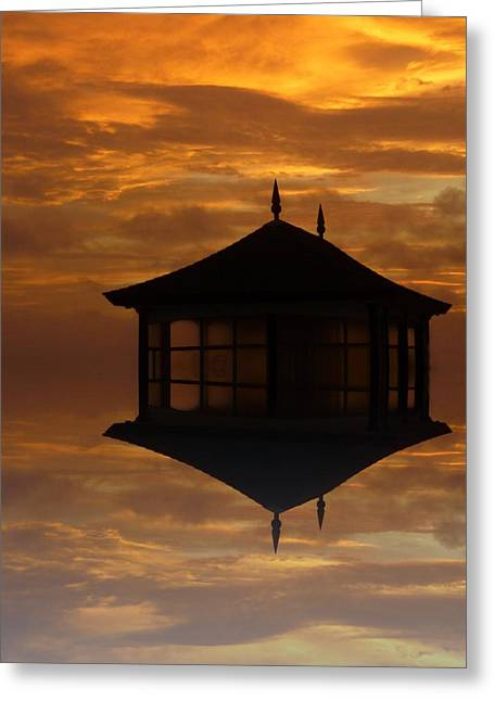 Reflecting Sunset Greeting Cards - Summer House Greeting Card by Sharon Lisa Clarke