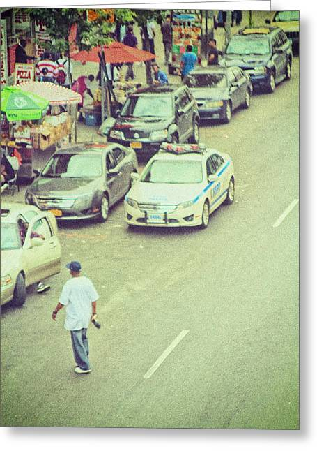 New York Cops Greeting Cards - Summer In Harlem Greeting Card by Karol  Livote