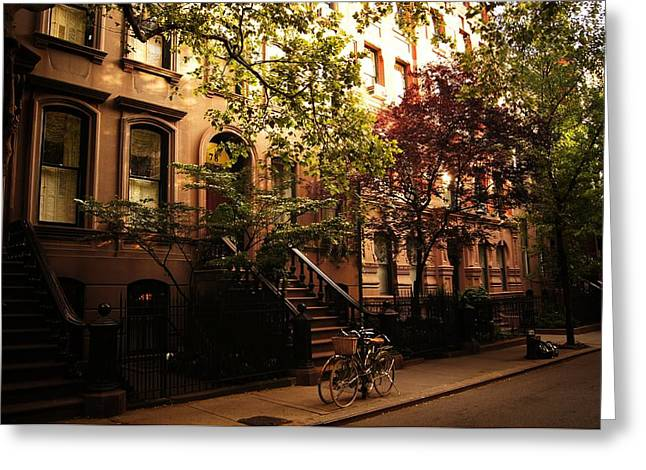 Brownstone Greeting Cards - Summer in New York City - Greenwich Village Greeting Card by Vivienne Gucwa