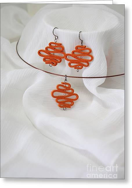 Orange Earrings Greeting Cards - Summer in Orange Greeting Card by Eena Bo