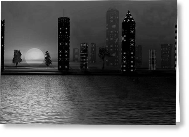In-city Digital Art Greeting Cards - Summer In The City - BW Greeting Card by David Dehner