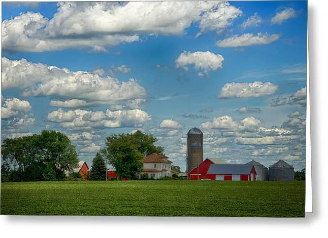 Summer Iowa Farm Greeting Card by Bill Tiepelman