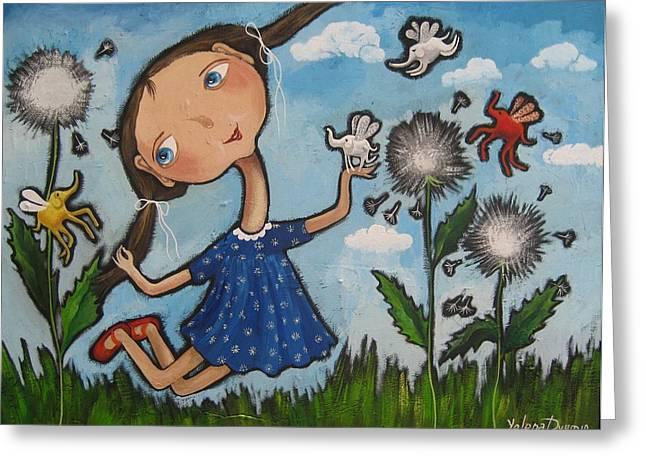 Girl And Animals Framed Prints Greeting Cards - Summer joy Greeting Card by Yelena Dyumin