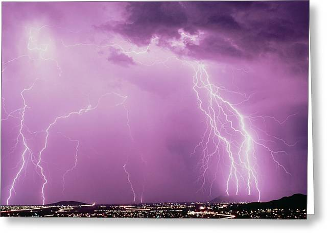 Summer Storm Greeting Cards - Summer Ligtning Storm Over Tucson, Usa Greeting Card by Keith Kent