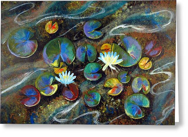 Lilly Pads Greeting Cards - Summer Lillies Greeting Card by Art Nomad Sandra  Hansen