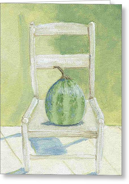 Ladderback Chair Greeting Cards - Summer Melon Greeting Card by Laurel Porter-Gaylord