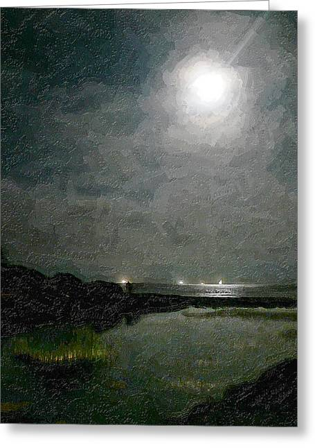 Beach At Night Greeting Cards - Summer Moon Over The Lagoon Greeting Card by Ron Regalado