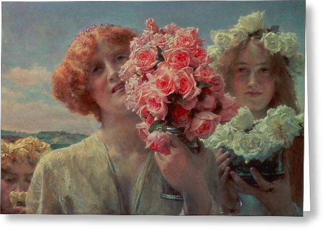 Sir Lawrence Alma-tadema Greeting Cards - Summer Offering Greeting Card by Sir Lawrence Alma Tadema