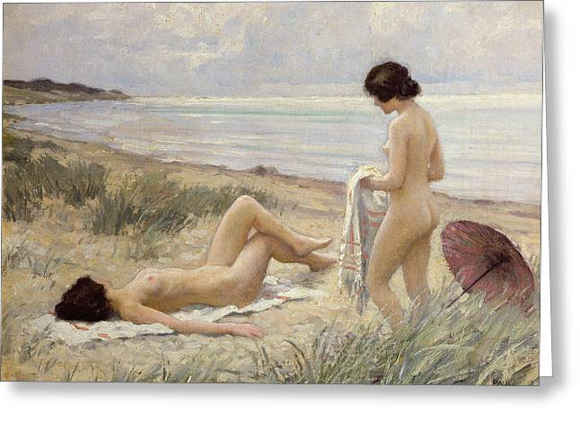 Curved Greeting Cards - Summer on the Beach Greeting Card by Paul Fischer