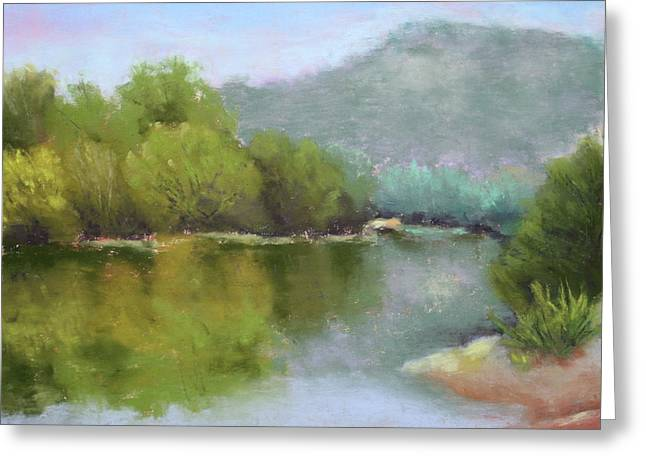 Oregon Pastels Greeting Cards - Summer on the River Greeting Card by Nancy Jolley