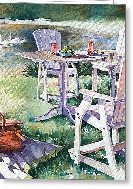 Adirondak Chair Greeting Cards - Summer Picnic Greeting Card by Beth Kantor