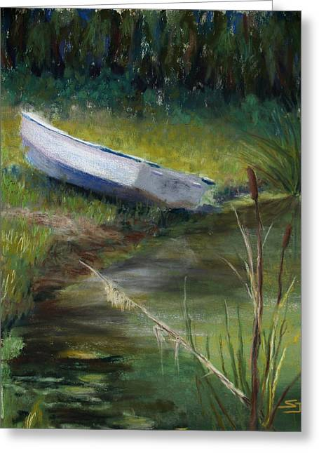 Fishing Boats Pastels Greeting Cards - Summer Pond Greeting Card by Susan Jenkins