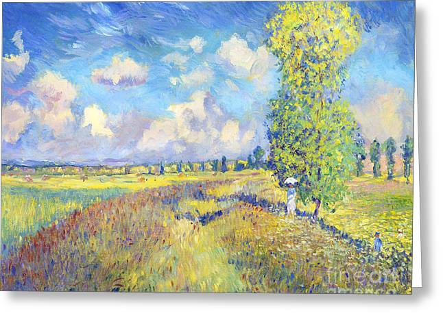 Field. Cloud Paintings Greeting Cards - Summer Poppy Fields - sur les traces de Monet Greeting Card by David Lloyd Glover