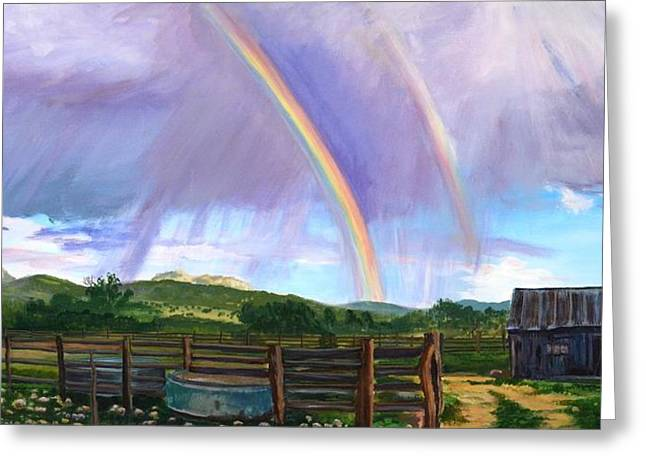 Old Home Place Greeting Cards - Summer rain at the Ranch Greeting Card by Rita Lackey