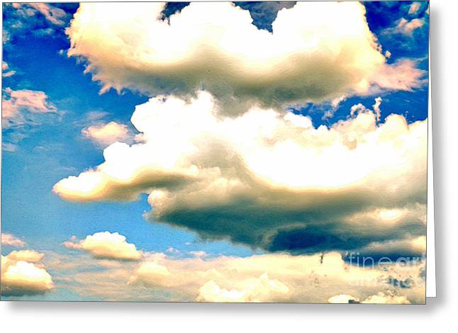 Clouds Greeting Cards - SUMMER SKY white and threatening clouds against a blue sky Greeting Card by Andy Smy
