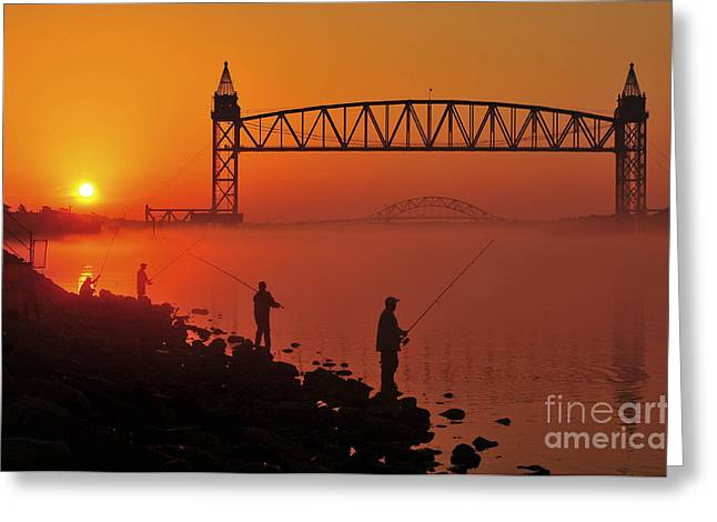 Train On Bridge Greeting Cards - Summer Solstice Sunrise  Greeting Card by Catherine Reusch  Daley