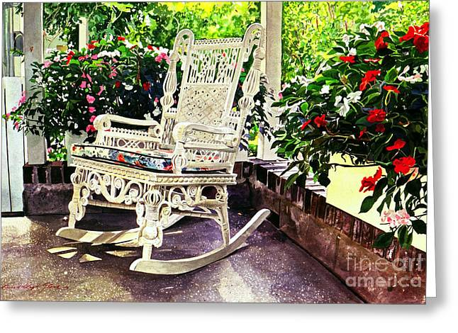 Garden Scene Greeting Cards - Summer Sun Porch Greeting Card by David Lloyd Glover