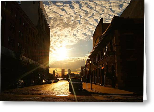 Gorgeous Sunset Greeting Cards - Summer Sunset Over a Cobblestone Street - New York City Greeting Card by Vivienne Gucwa