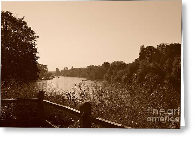 Hampton Court Greeting Cards - Summer View of the River Thames Greeting Card by Helen Esdaile